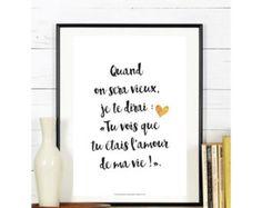 A4 - Affiche Amour, carte amour, affiche citation, poster citation, noir et blanc, saint valentin, déclaration, amoureux, couple - B