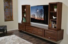 Floating Entertainment Center Wall Mount TV Stand   ECO GEO Mocha