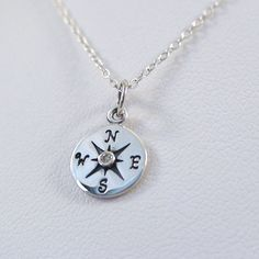 FashionJunkie4Life - Sterling Silver Compass Necklace with 1pt Genuine Diamond