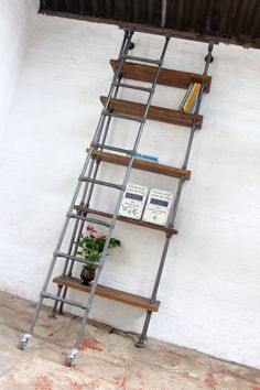 Brooklyn Handmade Reclaimed Scaffolding Boards and Dark Steel Pipe Bookcase with…