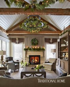 "6,366 Likes, 47 Comments - Traditional Home (@traditionalhome) on Instagram: ""An Iowa couple strikes a harmonizing chord of style during the season they love most, (link in…"""