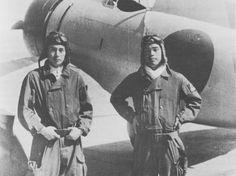 Japanese pilots Masao Asai and Masao Sato aboard carrier Akagi, 1938-1939 Note A5M in background