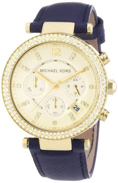 Michael Kors Women's Chronograph Navy Genuine Leather Band Steel Case Quartz Date Watch Color Dorado, Fossil Watches, Women's Watches, Stainless Steel Watch, Watch Brands, Fashion Watches, Michael Kors Watch, Chronograph, Hippie Jewelry