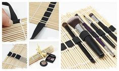 How To Turn Your Makeup Display Into A Work Of Art 14 DIY Makeup Organizer Ideas That Are So Much Prettier Than Those Stacks Of Plastic Boxes. How cool is the sushi mat? Diy Makeup Organizer, Organizer Box, Make Up Organizer, Plastic Organizer, Diy Makeup Brush, Makeup Brush Storage, Makeup Brushes, Paint Brushes, Cosmetic Brushes