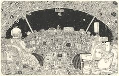 How a child imagines an airplane cockpit, from Swedish artist Mattias Adolfsson, drawn on two pages of a Moleskine notebook