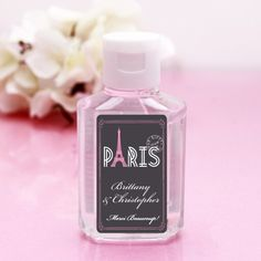 These Paris Themed Personalized Hand Sanitizer Favors will keep guests clean and cool! Paris Bridal Shower, Paris Baby Shower, Paris Theme, Hand Sanitizer, Favors, Perfume Bottles, Alcohol, Cleaning, London