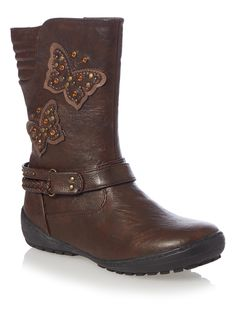 A perfect accompaniment to her seasonal wardrobe, these brown boots feature appliqué detail. Pair with skirts and tights for a complete look. Girls brown bumper boots Embellished design Appliqué detail Zip fastening Reinforced heel Keep away from fire