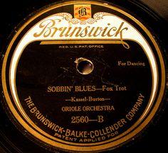 Sobbin' Blues on a vintage Brunswick record label by SCVHA, via Flickr