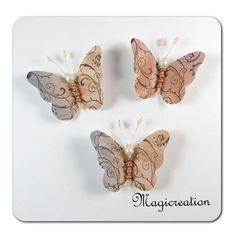 TRIO MAGNETS PAPILLONS SOIE BRUME - Boutique www.magicreation.fr