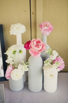 spray paint bottles for wedding flower vases    Photography By / http://onelove-photo.com,Wedding Design   Coordination By / http://mydandelionevent.com