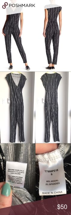 """🆕NWOT Tart Jumpsuit Romper One Piece Authentic Tart Gwyneth jumper in dry brush stripe. New without tags. Super soft! Wrap style neckline, cap sleeves, 2 front slash pockets, side ruching detail, stretch knit construction. Elasticize waist. Approx 60"""" long. Size small. Model photos credit Nordstrom. ❌No trades❌Price firm unless bundled. Anthropologie Pants Jumpsuits & Rompers"""