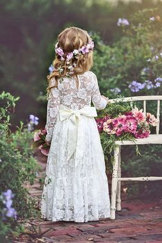 15 Country Flower Girl Dresses That Are Pretty ❤ country flower girl dresses with long sleeves full lace embellishment bow old classic photography ❤ Full gallery: https://weddingdressesguide.com/country-flower-girl-dresses/ #bride #wedding #flowergirldresses