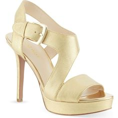 NINE WEST Saynomore heeled sandals ($76) ❤ liked on Polyvore