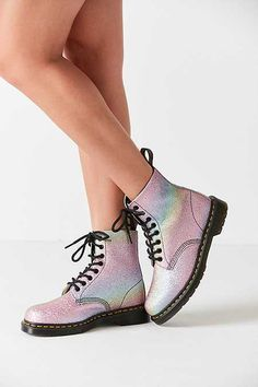 Martens Pascal Rainbow Glitter Boot at Urban Outfitters today. We carry all the latest styles, colors and brands for you to choose from right here. Dr. Martens, Botas Dr Martens, Red Doc Martens, Doc Martens Style, Doc Martens Outfit, Doc Martens Boots, Shoes Boots Timberland, Shoe Boots, Cute Shoes