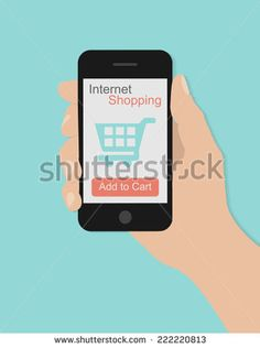 Hand holding smart phone with shopping concept on turquoise background. Flat design
