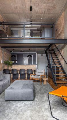 Casas Pequenas: +80 Fotos de Fora e de Dentro para Inspirar 2020 Small Loft Apartments, Modern Loft Apartment, Loft Apartment Decorating, Apartment Layout, Industrial Loft Apartment, Studio Apartment Design, Modern Lofts, Apartment Living, Apartment Ideas