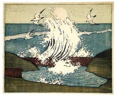 Woodcut: The Wave, Moonrise, Bror Julius Olsson Nordfeldt, 1906.