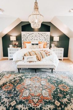 colorful home decor Cozy Master Bedroom Reveal. Find ideas for your own room. Rustic and boho design with cutest colors. Cozy Bedroom, Bedroom Apartment, Dream Bedroom, Modern Bedroom, Contemporary Bedroom, Stylish Bedroom, Bedroom Inspo, Minimalist Bedroom, Cozy Master Bedroom Ideas