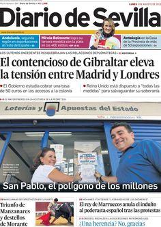 Los Titulares y Portadas de Noticias Destacadas Españolas del 5 de Agosto de 2013 del Diario de Sevilla ¿Que le pareció esta Portada de este Diario Español?