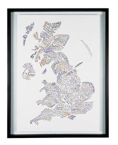 A gorgeous hand-lettered map of literary Britain, designed by Geoff Sawers. Over 180 authors are featured in the original geographically-linked design