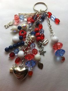 Red, white, blue crystal beads silver chain, silver charms key chain on Etsy, $12.00
