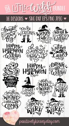 Make your own awesome with this super cute little witch ! 16 witchy designs to mix and match for all your halloween and . Fete Halloween, Halloween Signs, Halloween Projects, Halloween Fonts, Cricut Halloween Cards, Halloween Templates, Halloween Silhouettes, Circuit Projects, Vinyl Projects