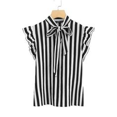 SHEIN Summer Top Elegant Work Women Blouses Cap Sleeve Black and White Tie Neck Butterfly Sleeve Workwear Striped Blouse Black Collared Shirt, Turquoise Shirt, Summer Dress, Outfit Trends, Black And White Blouse, Black White, Stripes Fashion, Shirt Blouses, Tie Blouse