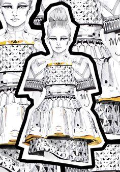 Mary Katrantzou illustration art fashion sketchbook draw black and white creation Illustration Techniques, Illustration Mode, Fashion Illustration Sketches, Fashion Sketchbook, Fashion Sketches, Mary Katrantzou, Fashion Collage, Fashion Art, Fashion Design