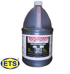 The Elite Graffiti Remover for Masonry - Taginator®.  The World's Best Graffiti Remover for Rough and Porous Materials in a 1 Gallon Container.  From ETS Company http://www.shopetsonline.com/Taginator-p/cpcp-204710.htm