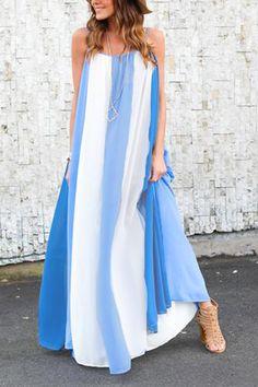 Vacation Stripe Pattern Maxi Dress