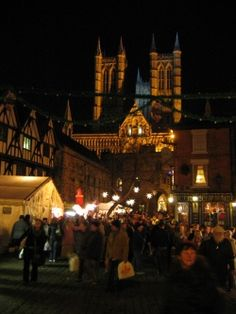 Lincoln cathedral during the Christmas market, England