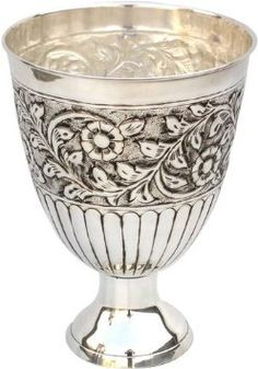 GiftBay Beautiful Dual Purpose Vase and Wine Cooler Silver Finish Nickel Plated on Brass Metal Vase