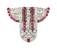 ART DÉCO RUBY AND DIAMOND CLIP BROOCH, JANESICH | Jewelry, brooch | Christies