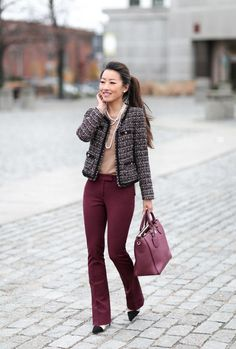burgundy pants tweed jacket // winter work outfit by extra petite blog