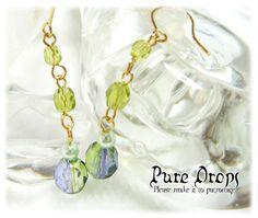 【PureDrops】ハンドメイドピアス299グリーンオーロラチェコ Handmade earrings ¥100円 〆03月25日