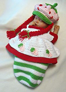Strawberry_babycake_1_small2 Crochet Baby Cocoon, Crochet Bebe, Crochet Baby Clothes, Newborn Crochet, Crochet For Kids, Knit Crochet, Knitted Baby, Crochet Crafts, Crochet Projects