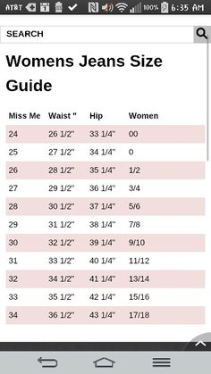 Womens rock revival jeans size chart