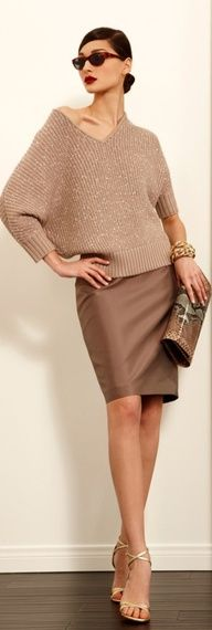 sparkle sweater W/taupe skirt