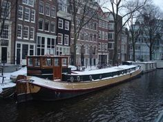 Houseboat with snow