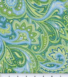 Keepsake Calico Fabric-Paisley Green at Joann.com...maybe for the crib bedding if baby-to-be is a girl?
