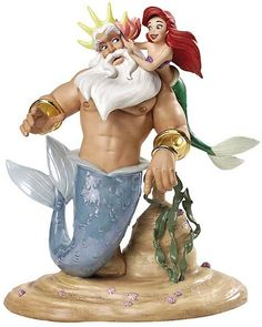 WDCC Disney ClassicsKing Triton & Ariel Morning, Signed Daddy From The Little Mermaid