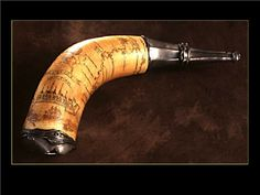 Powder Horn bearing the Hudson & Mohawk River Valleys and Lakes Champlain & Ontarioc. 1757 - 1760 Powder Horns