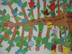 Vine and branches Bible Activities For Kids, Preschool Bible, Bible Lessons For Kids, Bible For Kids, Bible School Crafts, Sunday School Crafts, Bible Crafts, Vbs Crafts, Church Crafts