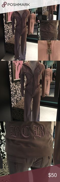BCBG Mauve Jogger Suit w/ Hoodie Hello,, and Welcome to GIRLe Boutique 🌺 This is my Fabulous Shoppe' here on Poshmark👗.  All my Items are New With Tags & Handpicked by Me - Christina 💋 Amazing Quality at Rock Bottom Prices .             Sale Price: $50 Reg: $300  Fabric : 95% Cotton - 5% Spandex  2PCE Pant Jogger Set - Zip Front Hoodie Jacket w/ Back & Front Logo - Tie Waist Pant w/ Back Pickets & Bottom Leg Logo   🌺Accessories Not Included 🌺 Thanks For Looking & Always Let your Clothes…