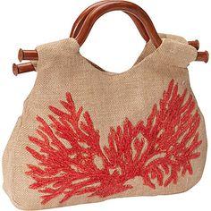 Moyna Handbags Wood Handle Tote Nat/Red - Moyna Handbags Fabric Handbags