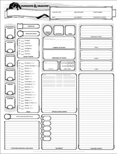 dungeons and dragons character sheet 5th ed | Get It Here: Wizards of the Coast