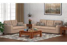 Get Wooden Nicolas 3+2 Fabric Sofa Set Irish Cream @ WoodenStreet. #sofaset #livingroom #furniture
