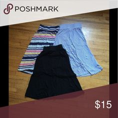 Girls maxi skirt bundle Girls maxi skirt bundle:: solid black, blue and white stripe, colored striped Cherokee Bottoms Skirts