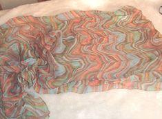 Preston & York 100% Italian Silk Chiffon Multicolor Long Semi Sheer Scarf #PrestonYork #Scarf