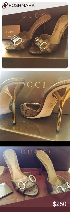 Gucci Metallic Authentic Heels Gucci Crystal GG Lam/Metallic Oro Ebony Heels. Perfect Condition-Worn Once. Put Bon Slip Soles on bottom. That's what the bottom black spot is. Comes with Original Box, 2 Dust Bags, Care Booklet. Gucci Shoes Heels
